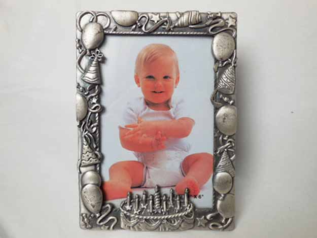 Birthday Cake Pewter Frame