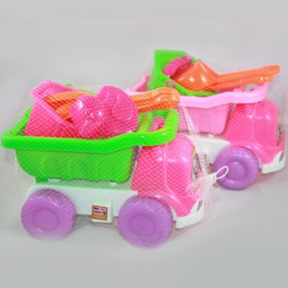 Large toy truck with beach toys