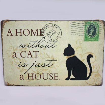 Cat House Metal Sign
