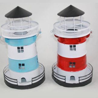 Lighthouse Tea Light Metal - 2 Assorted