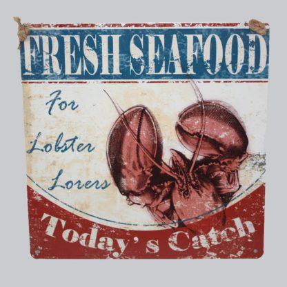 Fresh Seafood Metal Sign