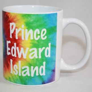 PEI Tie Dye Mug White Letters